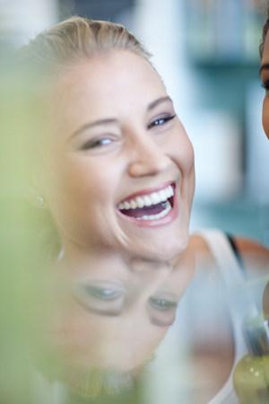 cremas faciales: Close up of womans smiling face