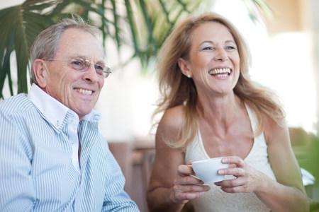 tea breaks: Older couple having coffee together