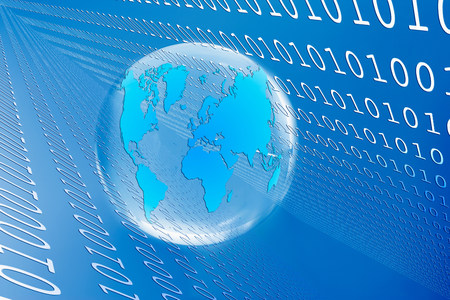 information superhighway: Illustration of globe and binary code LANG_EVOIMAGES