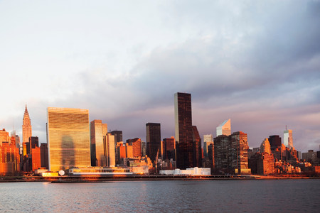 negative area: New York City skyline and waterfront