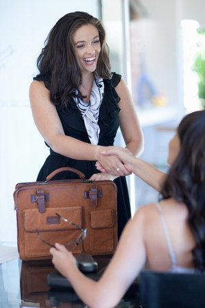 Businesswomen shaking hands in office LANG_EVOIMAGES