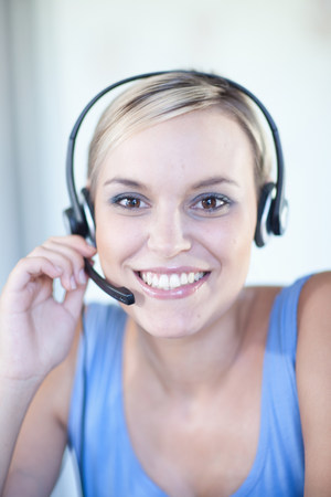 hands free device: Businesswomen wearing headset
