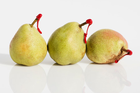 Pears with red tags on stems LANG_EVOIMAGES