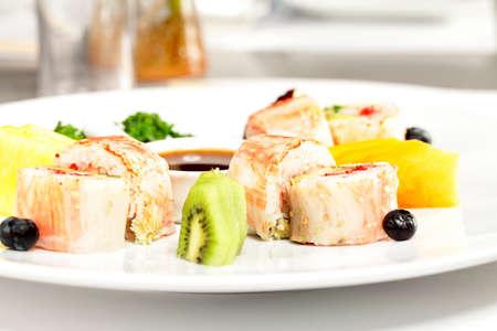 Plate of sushi rolls LANG_EVOIMAGES