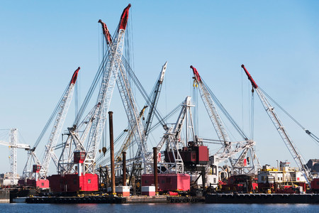 Harbor loading cranes,New York City,USA