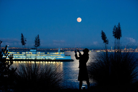 Woman taking picture of cruise ship