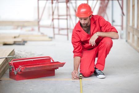 adentro y afuera: Constructor, herramienta, caja, lápiz, medición, piso, construcción, sitio