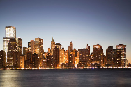 negative area: Manhattan skyline at dusk,New York City,USA LANG_EVOIMAGES