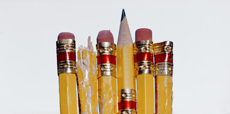 chewed: Close up of chewed pencils