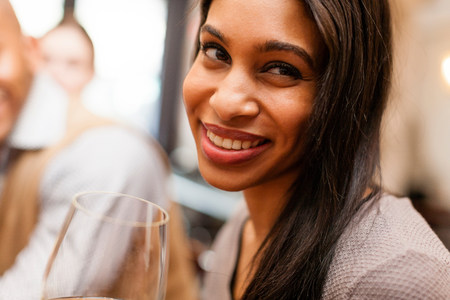 admired: Woman smiling coyly
