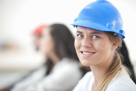 Female laborer smiling