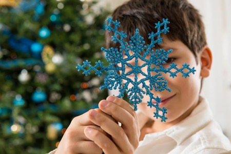 obscuring: Boy holding blue snowflake decoration LANG_EVOIMAGES