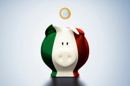 arrears: Euro coin above Italian flag piggy bank LANG_EVOIMAGES