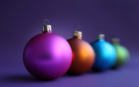 frailty: Colorful row of christmas baubles