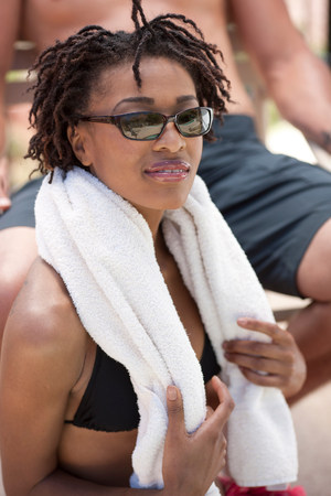 above 18: Woman wearing towel outdoors