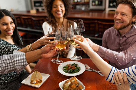 loudness: Friends at restaurant toasting