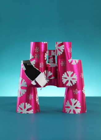 tempted: Binoculars wrapped in christmas paper LANG_EVOIMAGES