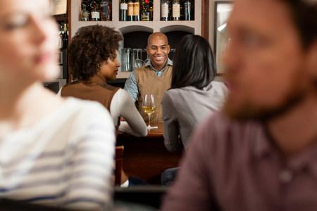 Customers at wine bar