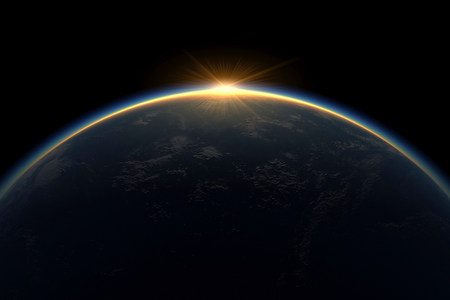 animate: Sunlight eclipsing planet earth