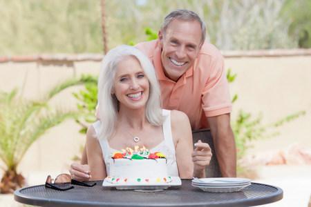 Older couple celebrating birthday