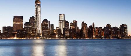 negative area: Panoramic Manhattan skyline at dusk,New York City,USA