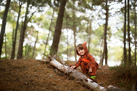 Portrait of male toddler wearing tiger suit playing in woods LANG_EVOIMAGES