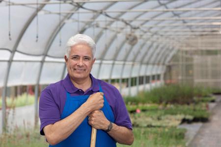 Senior man working in garden centre,portrait