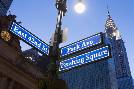 st: Pershing Square and Park Avenue street signs at dusk,New York City,USA LANG_EVOIMAGES