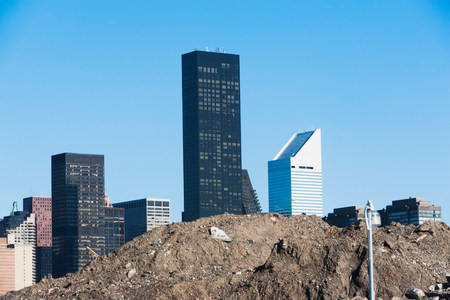 housebuilding: Trump World Tower behind pile of soil in New York City,USA