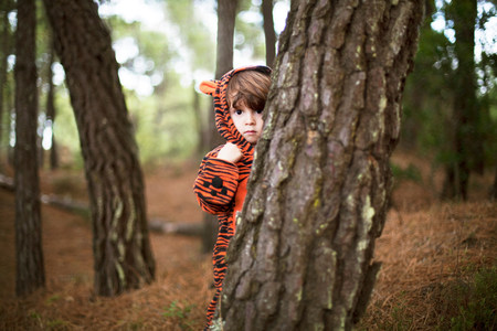 Male toddler wearing tiger suit hiding behind tree