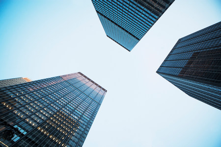 tallness: View of three skyscrapers from below