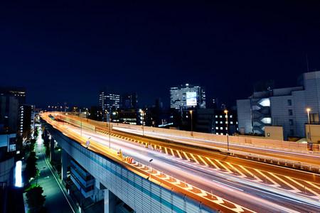 Highway at night,Ninhonbashi,Tokyo,Japan