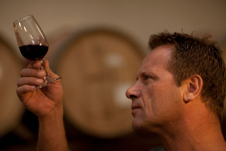 Man checking the color of red wine