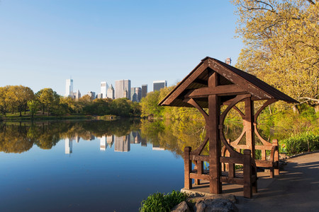 Pagoda on lake,Central Park,New York City,USA