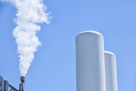 Smoke from refinery chimney,Port of Los Angeles,California,USA