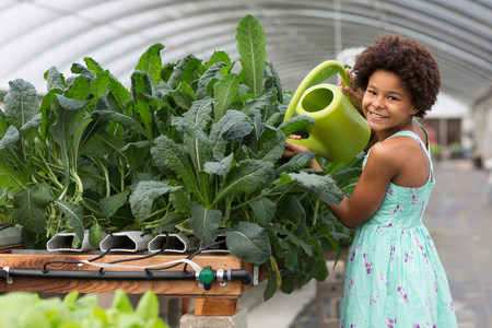 Girl watering plants in greenhouse LANG_EVOIMAGES