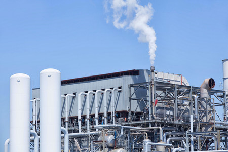 energy work: Smoke from refinery chimney,Port of Los Angeles,California,USA