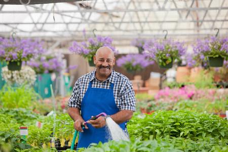 Mature gardener watering plants in garden centre,portrait