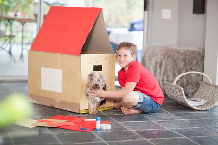 pooches: Boy building kennel for his dog