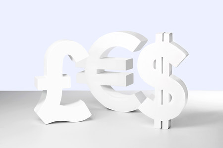 Dollar,Euro and Pound signs on white background