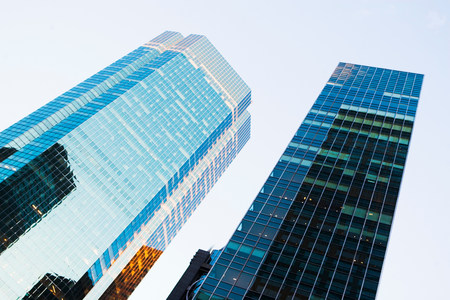 tallness: Angled view of skyscrapers