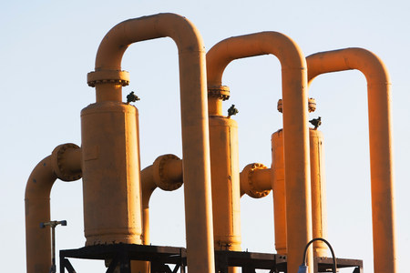 Close up of industrial pipes