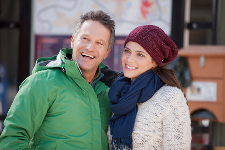 two persons only: Couple in warm clothing smiling