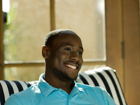 chillout: Young man in polo shirt,smiling