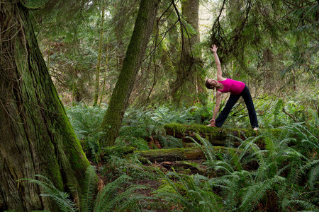 Mature woman performing triangle pose in forest