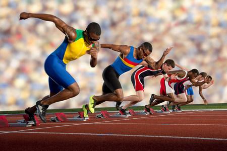 spandex: Six athletes starting race