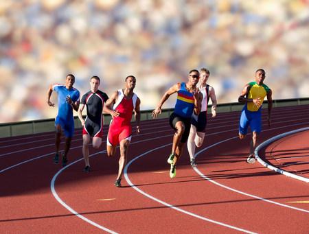 spandex: Six athletes running race