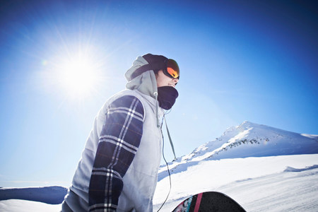 exhilarating: Woman wearing skiwear at top of mountain LANG_EVOIMAGES