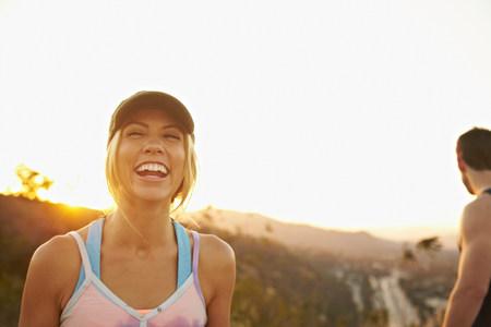 mountainous: Woman laughing hard