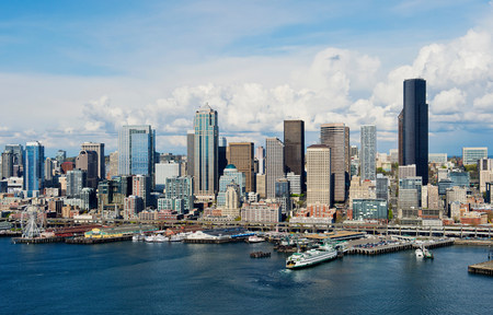 wa: Aerial view of Seattle waterfront,Washington State,USA LANG_EVOIMAGES